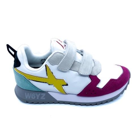 Sneaker bambina bianca fuxia W6YZ