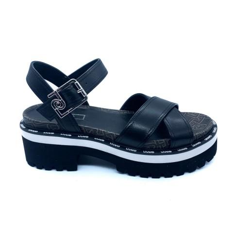 Sandalo donna nero Liu-Jo con suola track