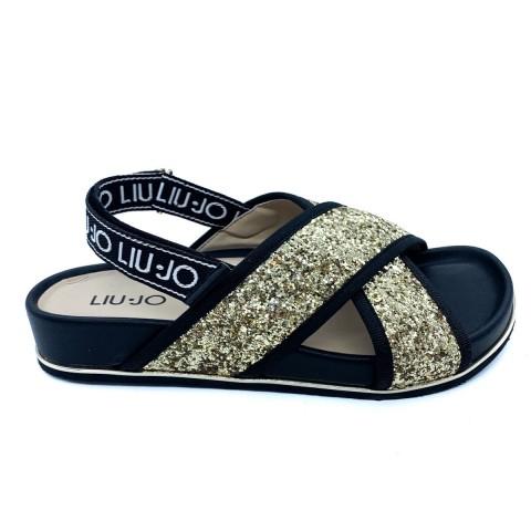 Sandali neri con glitter donna Liu-jo