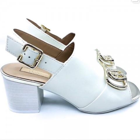 Sandali bianchi donna tacco largo Liu-jo