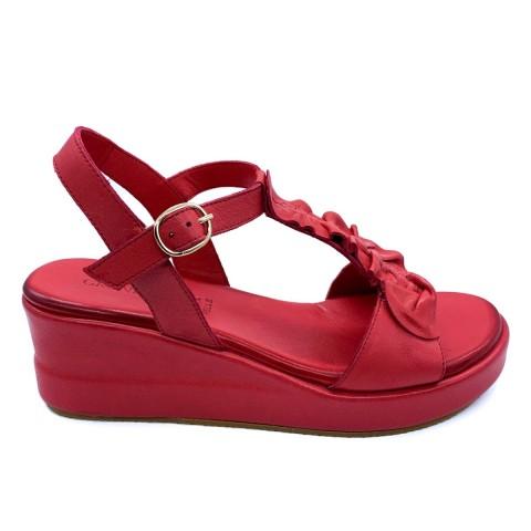 Sandalo rosso donna in pelle Grunland