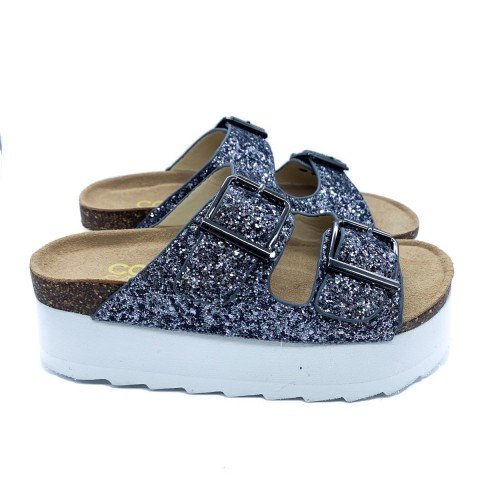 Sandalo bio grigio glitter donna Colors of California