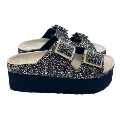 Sandalo nero bio glitter donna Colors of California
