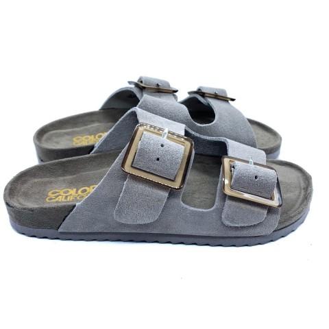 Sandalo bio camoscio beige donna Colors of California
