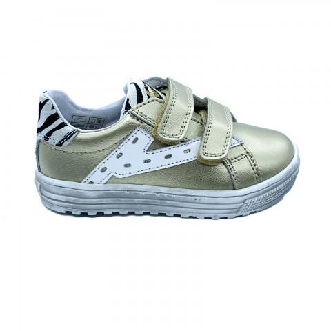 Sneaker bambina pelle platino velcro Naturino